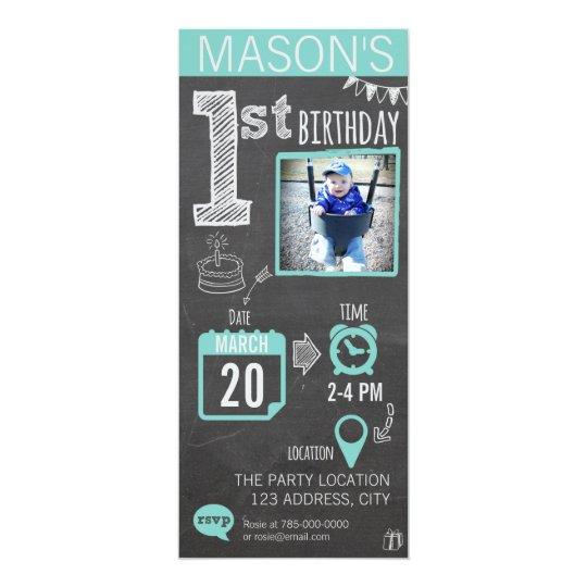 First Birthday Party Invitation Boy Chalkboard: Boy's Chalkboard 1st Birthday Invitation