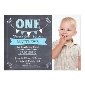 Boys Chalkboard Bunting 1st Birthday Invitation