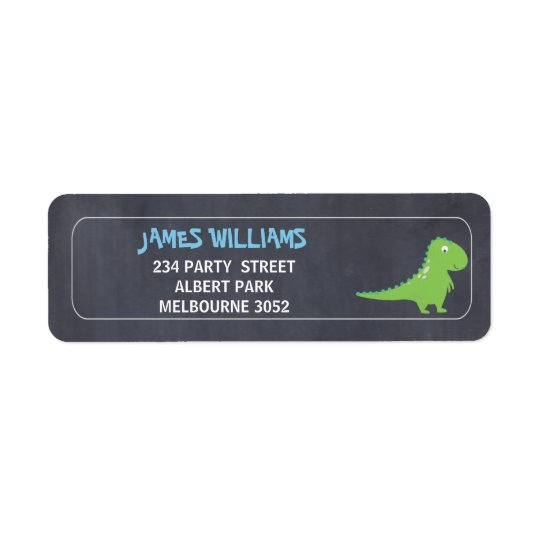 Boys Chalkboard Dinosuar Return Address Label