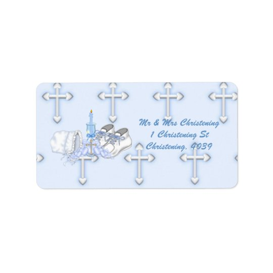 Boys Christening Wish Label