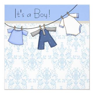 Boys Clothesline Baby Shower Card