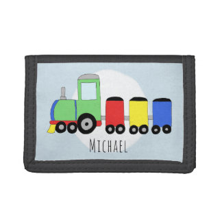 Boy's Colorful Doodle Locomotive Train with Name Tri-fold Wallets