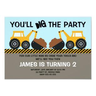 construction birthday invitations announcements zazzle ca