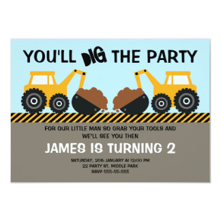 Boys Construction 2nd Birthday Invitation