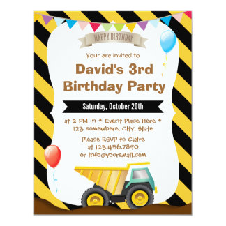 Boys Construction Birthday Party Invitations