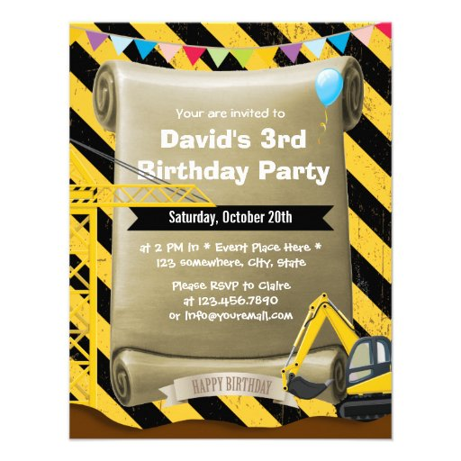 Boys Construction Excavator Birthday Party Personalized Announcements