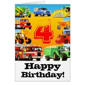 Boy's Construction Truck 4th Happy Birthday Card