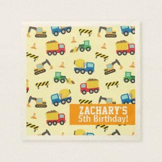 Boys Construction Vehicles Pattern Birthday Party Disposable Napkin