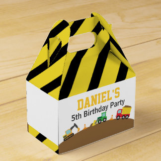 Boys Construction Vehicles Theme Birthday Party Wedding Favor Box