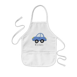 Boy's Cool Doodle Blue Car Vehicle & Name Kids Apron