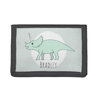 Boy's Cool Doodle Triceratops Dinosaur with Name Trifold Wallets