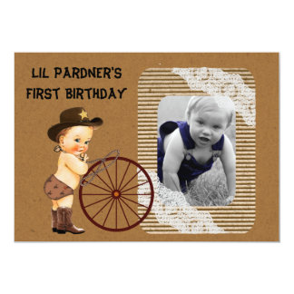 Boy's Cowboy first birthday party invitation
