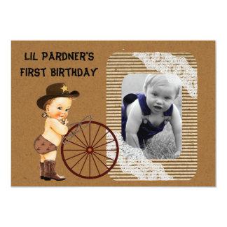 Boy's Cowboy first birthday party invitation