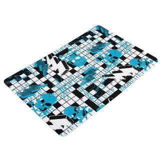 Boy's crossword puzzle floor mat