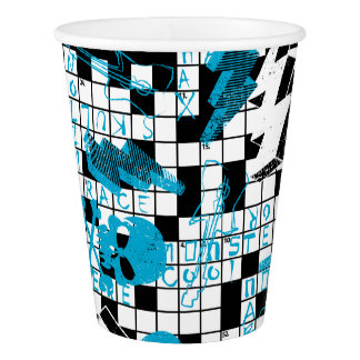 Boy's crossword puzzle paper cup