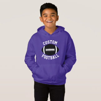 Boy's Custom Color (Purple) Black Football Hoodie