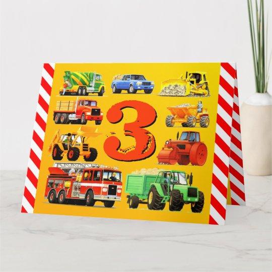 Boys Custom Happy 3rd Birthday Construction Truck Card