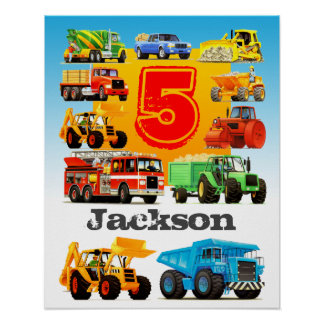 Boy's Custom Name and Age 5th Construction Truck Poster
