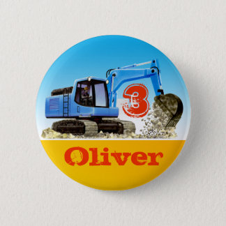 Boys Custom Name and Age Construction Digger 2 Inch Round Button