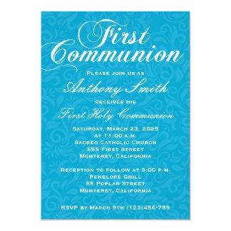 Boy's Damask First Comunion Invitation