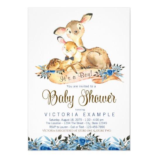Boys Deer Baby Shower Invitations
