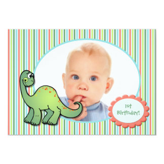 Boy's Dinosaur First Birthday Party Invitation