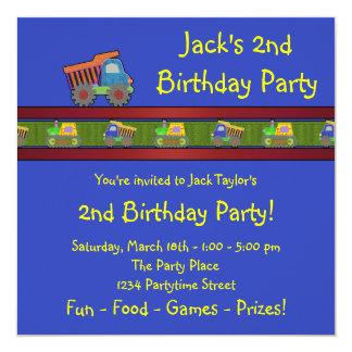 Boys Dump Truck Birthday Party Card