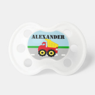 Boy's Dumptruck Personalized Name Baby Pacifier