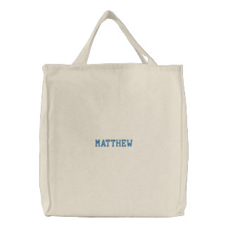 Boys Embroidered Name Canvas Tote Bag
