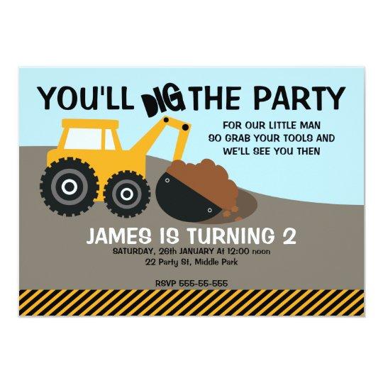 Boys Excavator Birthday Party Invitation