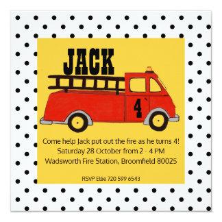 Boys Firetruck Firehouse Fire Station Red Truck Card