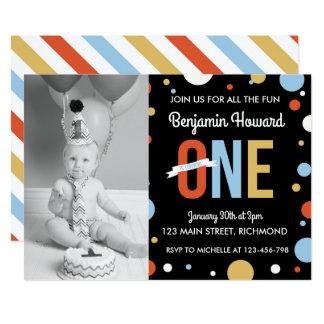 Boys First Birthday Invitation - Polka Dots