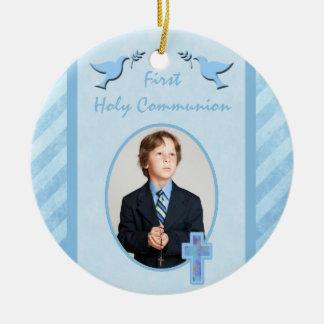 Boy's First Holy Communion Photo Ornament Keepsake