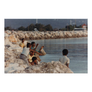 Boys Fishing off a Rock Jetty, Montego Bay, Jamaic Posters