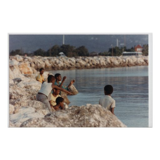 Boys Fishing on a Rock Jetty, Montego Bay Jamaica, Poster