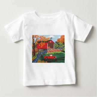 Boys Fishing Under The Covered Bridge Baby T-Shirt
