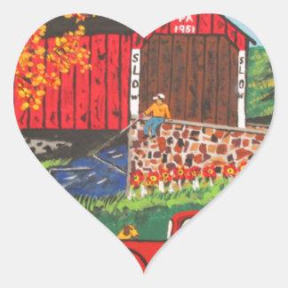 Boys Fishing Under The Covered Bridge Heart Sticker