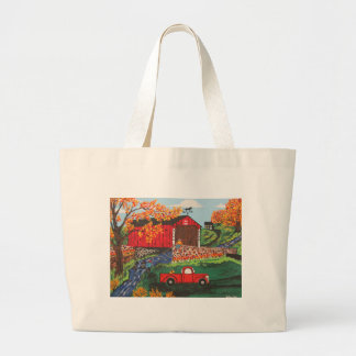 Boys Fishing Under The Covered Bridge Large Tote Bag