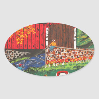 Boys Fishing Under The Covered Bridge Oval Sticker