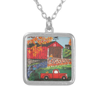 Boys Fishing Under The Covered Bridge Silver Plated Necklace