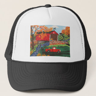 Boys Fishing Under The Covered Bridge Trucker Hat