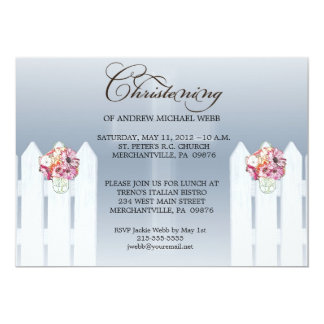 "Boy's Floral Mason Jar Christening/Baptism Invita 5"" X 7"" Invitation Card"