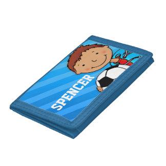 Boys football / soccer blue name wallet