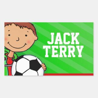 Boys football soccer name green id label sticker