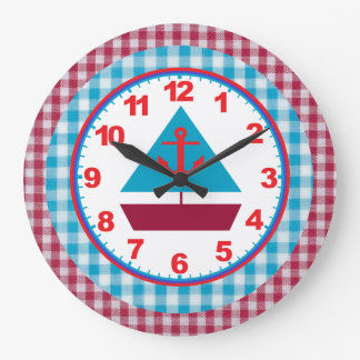 Boys Gingham Sailboat Clock With Numbers