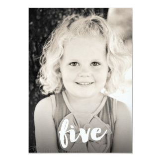 "Boys Girls 5th Birthday Number Five Photo Overlay 5"" X 7"" Invitation Card"
