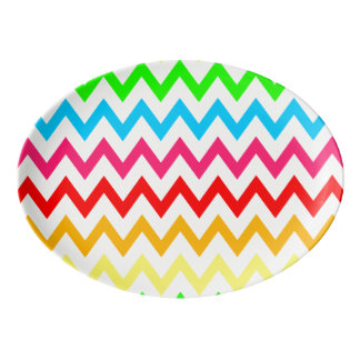 Boys Girls Bright Colorful Chevron Rainbow Porcelain Serving Platter
