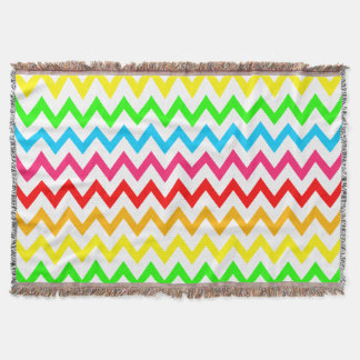 Boys Girls Bright Colorful Chevron Rainbow Throw Blanket