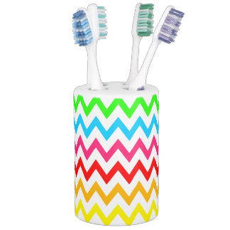 Boys Girls Bright Colorful Chevron Rainbow Toothbrush Holders