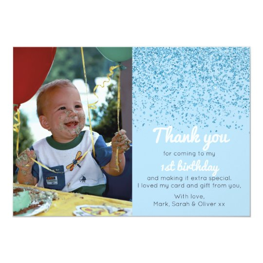 Boys glitter birthday thank you card